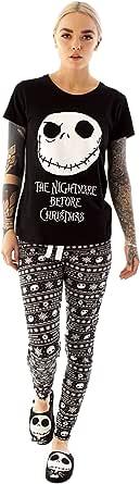 Disney Nightmare Before Christmas Pyjamas For Women | Ladies Jack Skellington T-Shirt & Trousers PJ Set | Adults Black Short Sleeve T-Shirt & Drawstring Bottoms
