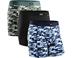 Men's Cotton Trunks 3 Pack, Stretchy Soft Fitted Boxer Pants, Classic Fit Underwear, Comfortable Boxer Shorts, Black, Blue, G