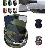 Sunplanet Pack 6 Uds Bandana Cubre Bocas para Rostro Diseño Militar, Mandala, Blanco y Negro- Mujer Hombre 100% Poliéster Dep