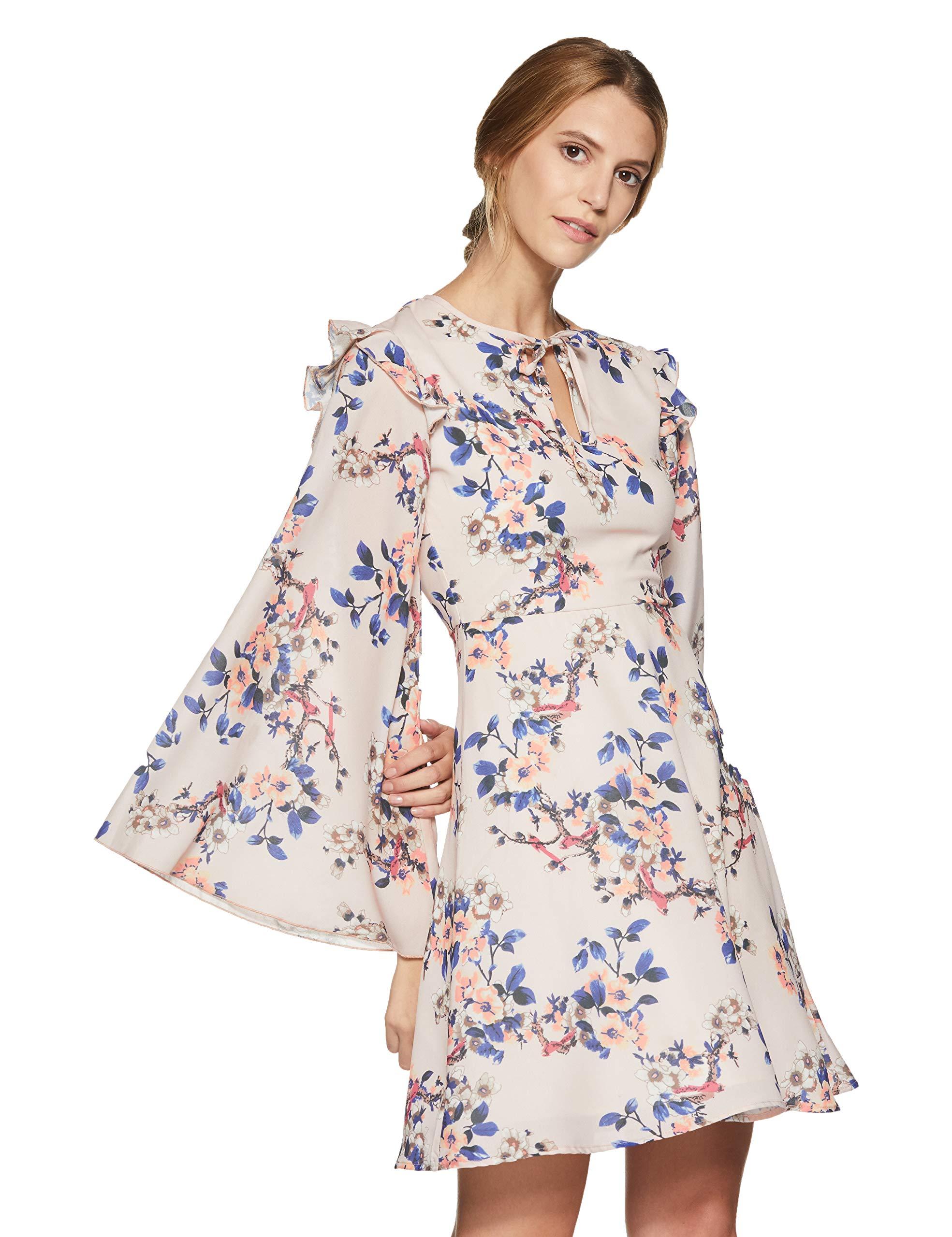 Stalk Buy Love Women's Georgette Floral Beverly Bell Sleeved Dress