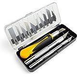 OfficeTree Scalpel de Découpe 16 Pièce - Cutter de Précision avec 3 Scalpels différents et 13 Lames de Rechange - Cuter préci