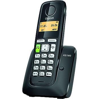 Gigaset AS160 Telefono Cordless, Vivavoce, Sveglia, Batterie Lunga Durata, Nero