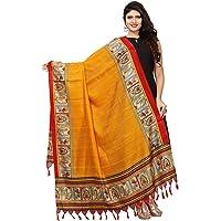 KANCHNAR Women's Solid Silk Dupatta