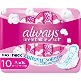 Always Cotton Soft Maxi Thick, Large sanitary pads with wings, 10 count