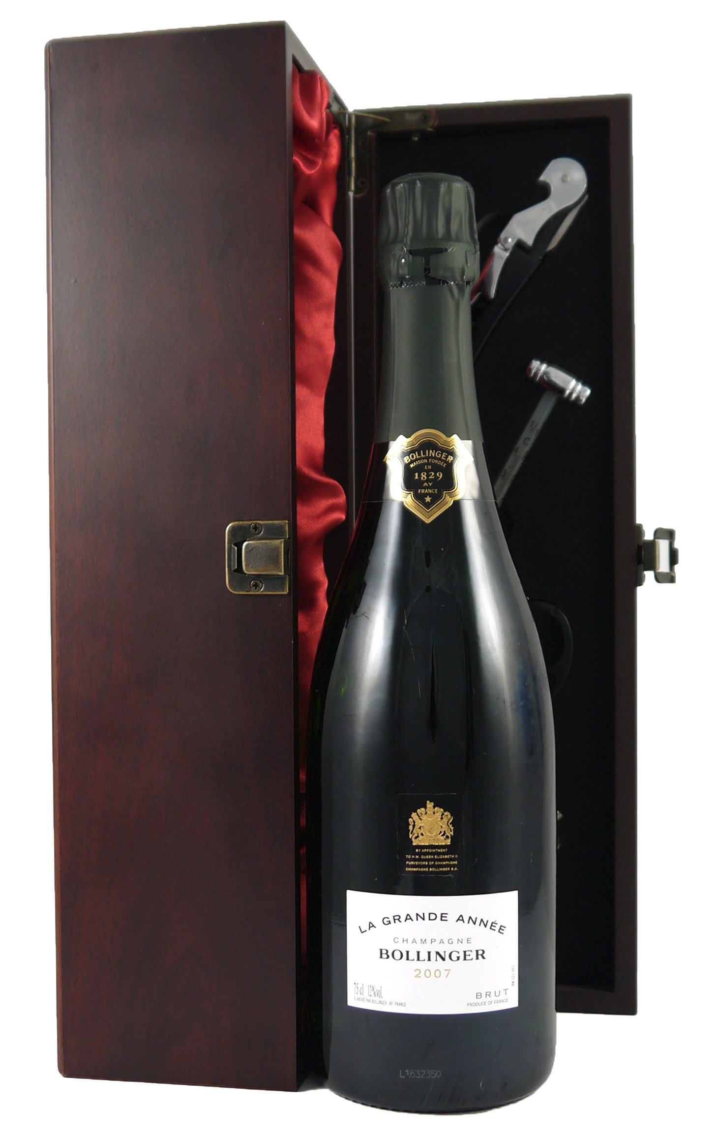 2007 Bollinger Grand Annee Vintage Champagne in a silk lined presentation box with four accessories