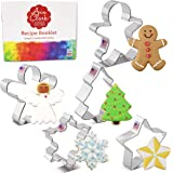 Ann Clark Cookie Cutters Ensemble de 5 emporte-pièces Noël et fêtes avec livret de recettes, flocon de neige, étoile, arbre d