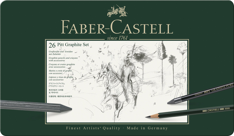 Faber-Castell 112974 – Estuche de metal con 3 ecolápices acuarelables, 9 grafitos 9000, 3 grafito Pitt puro, 3 grafitos y accesorios, multicolor
