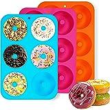 Molde para Donut de Silicona, 3 Pieza Antiadherente Molde Donuts para Pasteles,Jalea, Galletas,Bagels, Muffins-Naranja,Molde