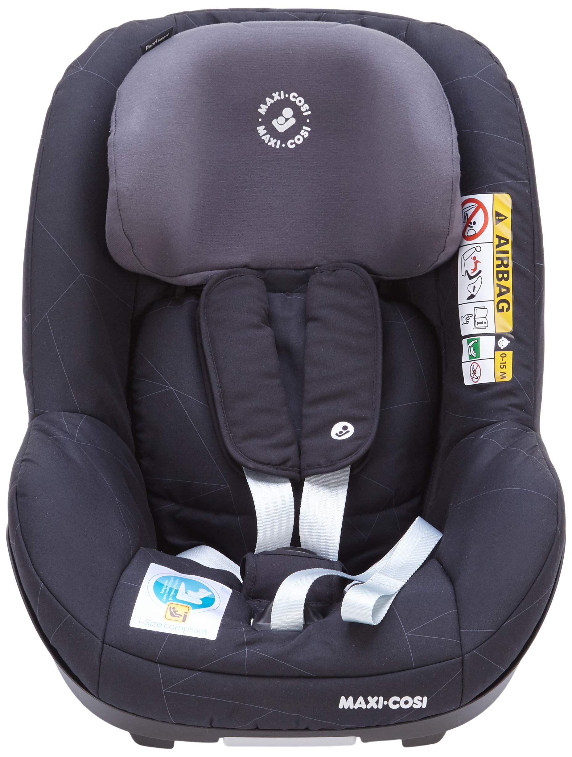 Maxi-Cosi Pearl Smart i-Size Toddler Car Seat, 6 Months - 4 Years, 9-18 kg, 67 - 105 cm, Black Diamond Maxi-Cosi Car seat for toddlers, suitable from 6 months to 4 years (9 - 18 kg, 67 - 105 cm) Must be installed in combination with family fix one i-size base Harness and headrest of this car seat adjust simultaneously for easy adjustment when child grows 3