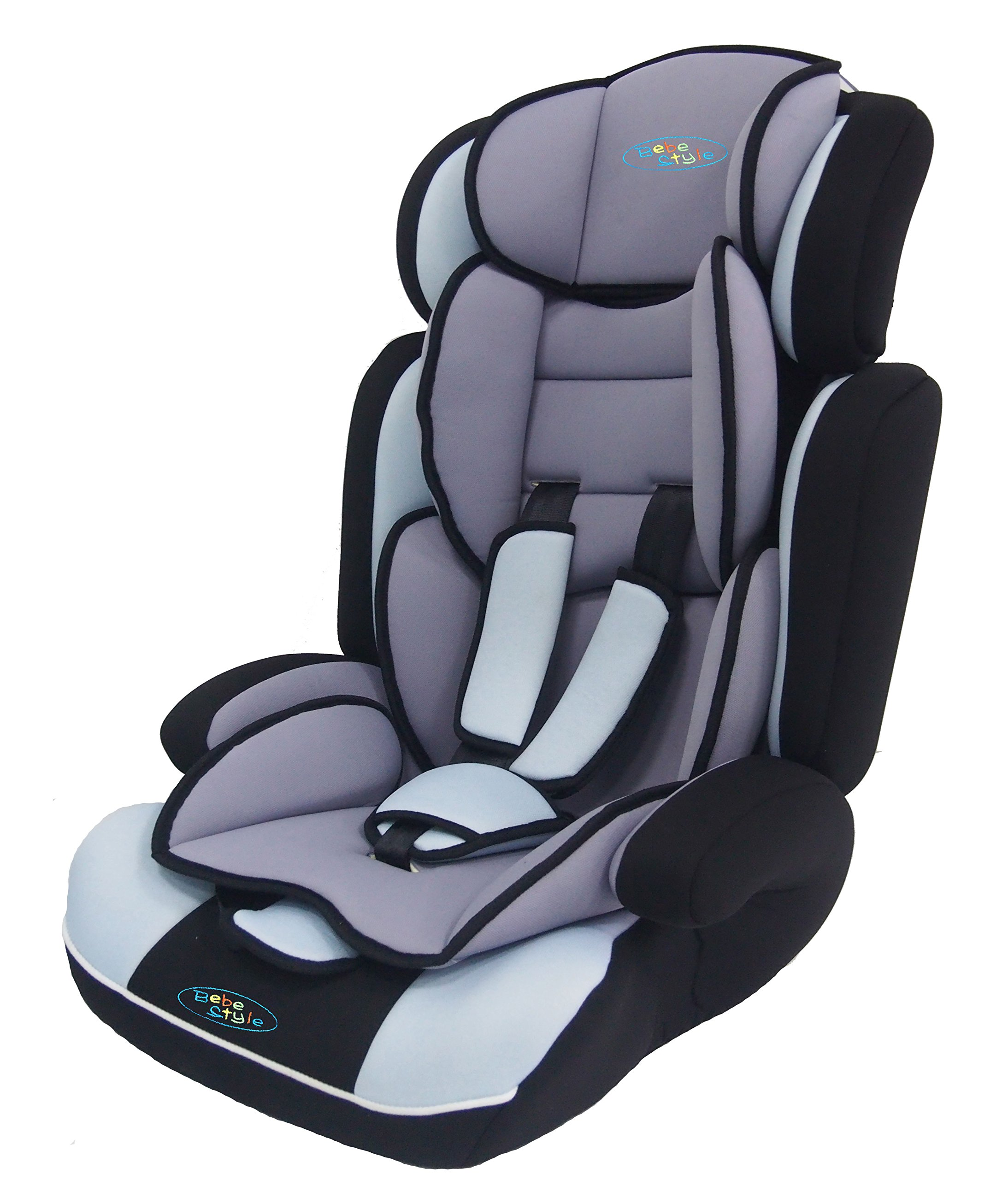 Bebe Style Convertiblle 1/2/3 Combination Car Seat and Booster Seat - Blue  From 9 months to 12 years old, one size fits all (9-36kg) Converts to booster seat.  Very Thick Padding Adjustable height of headrest and shoulder straps for the growing needs of the child 1