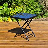 Kingfisher FSDT Folding Drinks Side Garden Patio Table - Black 40cm x 40cm x 46cm