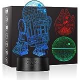 3D LED Star Wars Luz de noche, Lámpara de ilusión Death Star + R2-D2 + Millennium Falcon, Tres patrones y 16 colores Lámpara