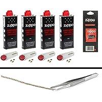 Zippo équipement 1: 4x Essence pour Briquet, 4x6 Pierres de feu, Mèche + pince à épiler