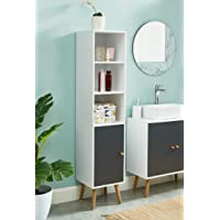 BAÏTA MAX05 Colonne de Rangement Salle de Bain, Blanc et Gris, 30x29,5x139cm