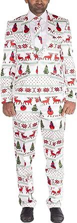 NOROZE Mens Slim Fit Fancy Dress Novelty Christmas Suit Costume