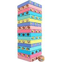 Toyshine 51 Pcs Printed Educational Wooden Stacking Tumling Tower Blocks Toys, Building Blocks for Kids