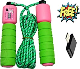 HARLLYCTION Skipping Rope With Counter Anti slip Rubber Grip & Adjustable Length Skip Jump Number Count Upto 999 || Color May Vary ||