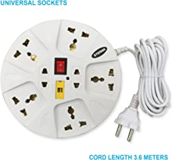 eSYSTEMS Extension Board, 6 Amp Multi Plug Point Strip, Extension Cord (3.6 Meter) Length with Led Indicator & Universal Sockets - White/Blue