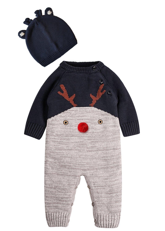 ZOEREA Neugeborenes Baby Mädchen Junge Strick Strampler Watte Weihnachten warme Pullover mit Hut Elch Hirsche Clown…