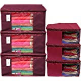 Kuber Industries Non Woven 3 Piece Saree Cover/Cloth Wardrobe Organizer and 3 Pieces Blouse Cover Combo Set (Maroon…