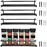 Belle Vous Etagere a Epices Murale de Couleur Noire (Lot de 4) - Porte Épices et Herbes Aromatiques pour Murs de Cuisine et A