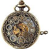 Engranaje retro de piñón de alto calado manual devanado, reloj de bolsillo mecánico, esqueleto de reloj, reloj para colgar co