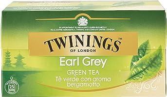 Twinings Tè Verde Green Earl Grey - 3 confezioni da 25 Filtri