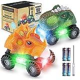 Magicfun Dinosaurio Coche, 2 Coches de Juguetes de Dinosaurios con Luces LED y Sonidos, T-Rex Dino Cars Monster Trucks de Plá