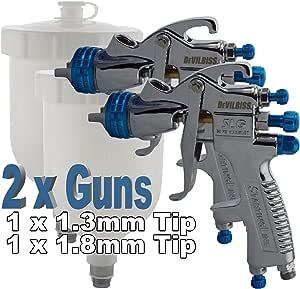 2 X Devilbiss Slg 620 Konform Spray Gun Gravity Feed 1 3 Mm 1 8 Mm Paint Primer 550 Ml Acetal Gravity Tasse Enthalten 1 3 Mm Für Decklack Lack 1 8 Mm Setup Für Primer Farben Auto
