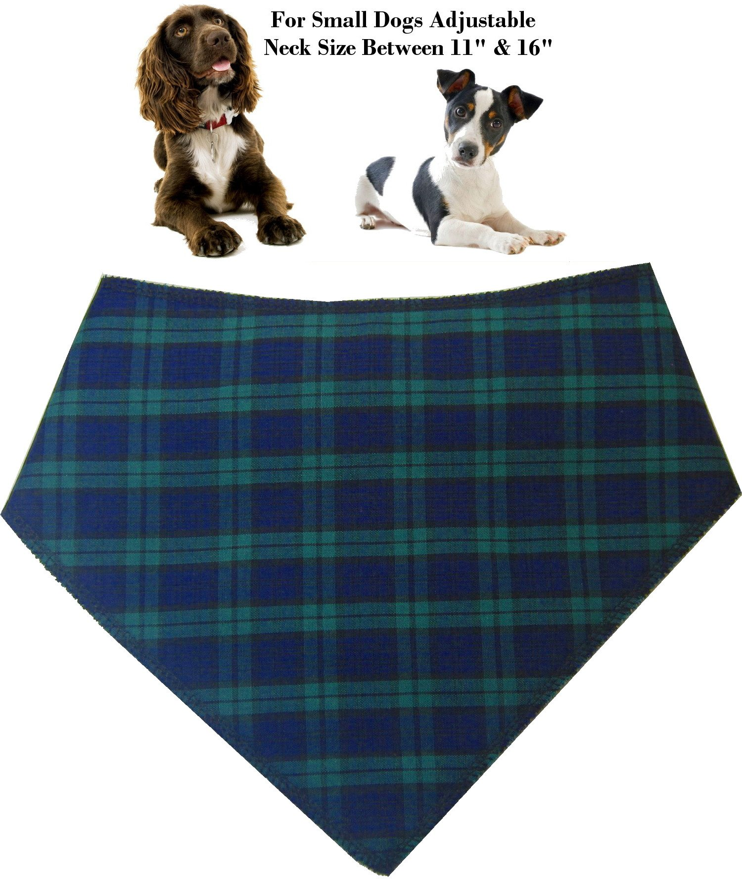 Spoilt Rotten Pets (S2) Branded Blue Tartan Dog Bandana. Adjustable Neck to Fit Small To Medium Dogs – Neck Size 11″ – 16″ Generally Fits Cocker Spaniel, Border Terrier, Jack Russell, Westies and Shih Tzu Sized Dogs.