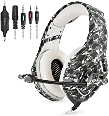 Gaming Headset Gaming Kopfhörer Camouflage für PS4 PC Xbox One, TedGem Stereo 3.5mm Noise Cancelling über Ohr Kopfhörer mit Mikrofon, LED-Licht, Bass Surround, Soft Memory-Ohrenschützer Sport Performance Ohrpolster, Lautstärkeregler