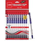Cello Technotip Ball Pen Set (Pack of 10 pens - Blue)   Lightweight ball pens for pressure free & fine writing   Exam…