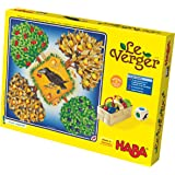 HABA Le Verger Jeu de dés passionant, avec 40 fruits en bois et des règles faciles à comprendre, jeu de société populaire à partir de 3 ans d'âge, 3170