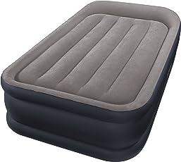 Intex Erwachsene Twin Deluxe Pillow Rest W/Fiber-Tech Bip Airbed, Top: Grey/Bottom: Blue, 99 x 191 x 42 cm