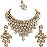 SADHANA COLLECTION Offwhite Gold-Plated Western Wear Choker Statement Necklace for Women