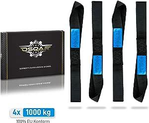 Osqar 4x Zurrschlaufen 1000kg 35 X 3 5cm 100 Din En12195 2 Konform Befestigungs Schlaufen Für Gewerbliche Nutzung 100 Sicheren Motorrad Transport Auto