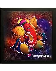 SAF Special Effect Textured Ganesha Painting (SANFO97, 30 cm x 3 cm x 30 cm)