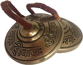 Handmade Brass Decorative Manjeera Pair Handmade Statue Musical and Traditional Instrument Indian Music (2.5 IN, Om Namah Shivay)