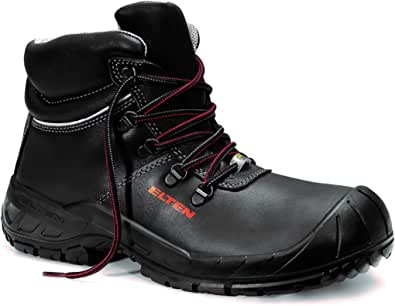 """Elten 765841-47 Safety Boots""""Renzo Mid"""" ESD S3, Size 12, black/red"""