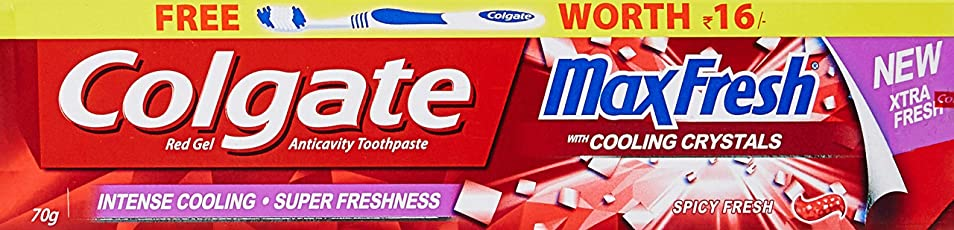Colgate Maxfresh Red Toothpaste - 70 g (Cooling Crystals) with Free Toothbrush (Worth Rupees 16)