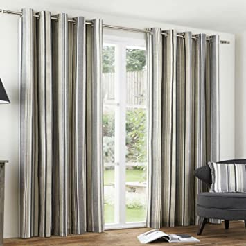 Curtains Ideas charcoal and cream curtains : CHARCOAL GREY NATURAL CREAM Regency Stripe Curtains EYELET 100 ...