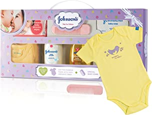 Johnson's Baby Care Collection with Organic Cotton Baby Dress Gift Set (9 Pieces)