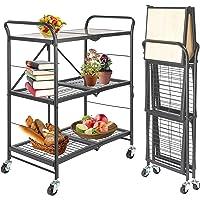 ONVAYA® Chariot de cuisine pliable - Chariot de service sur roulettes - Chariot d'étagères - Chariot d'appoint pour…