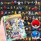 Pokemon Battle Set:144 Pokemon Figuren+1 Geïllustreerde Boeken+2 Basic Poke Balls (7cm) (STANDAARD SET)
