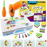 SYOSIN Mosaique Enfant Puzzle 3D Jouet à Visser Créatifs STEM Construction Caisse Outil Bricolage de Éducatifs Jouet Perceuse