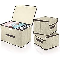 DIMJ Lot de 3 Boîte de Rangement Pliables avec Couvercles, Caisse de Rangement en Tissu avec Poignées pour Vêtements…