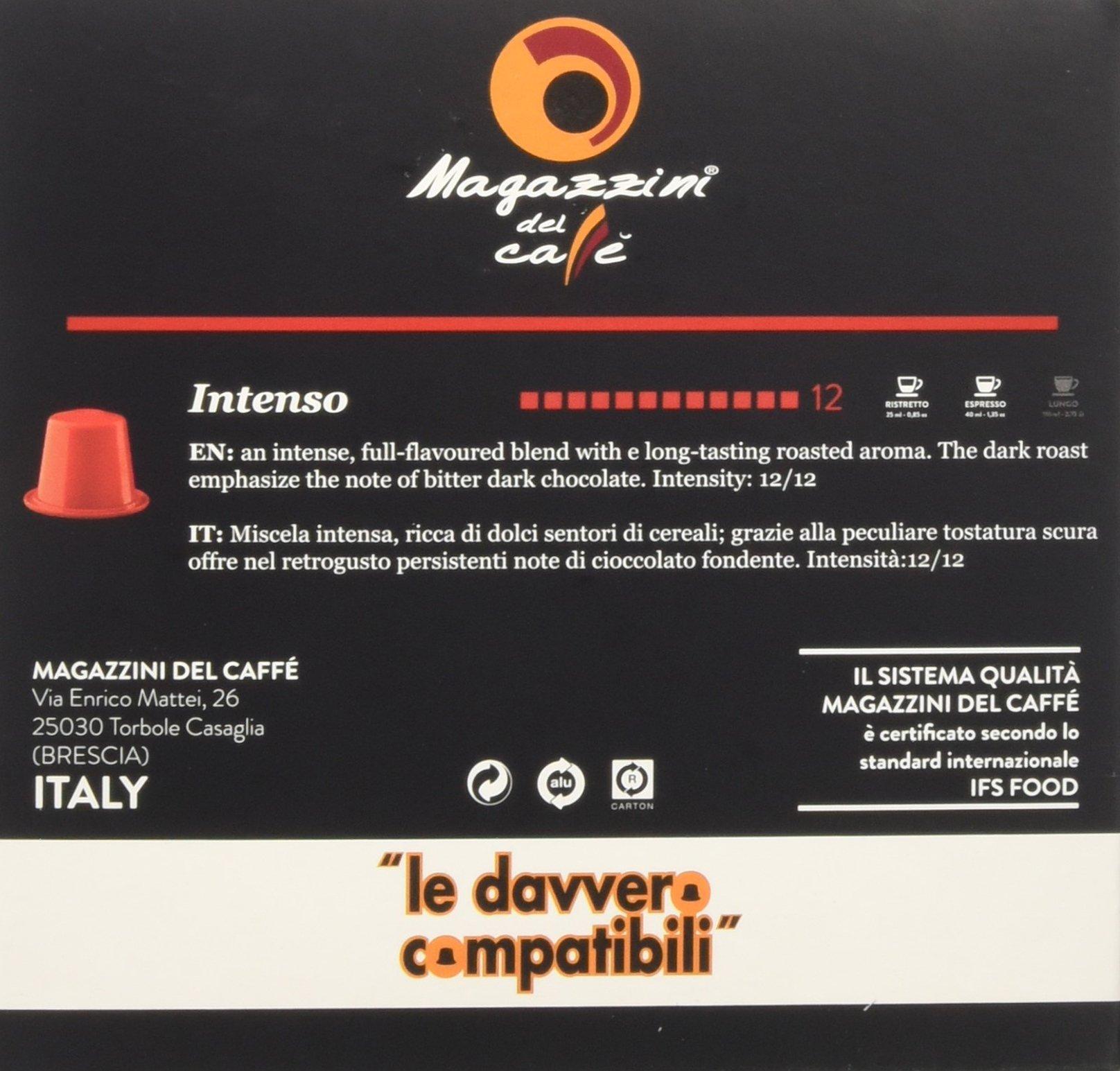 Magazzini del Caffè, 50 Capsule Compatibili Nespresso - Miscela Intenso - Intensità 12 con Retrogusto di Cioccolato… 4 spesavip