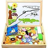 StillCool Puzzles de Madera Magnético 100 Piezas, Dibujo de Animal Colorido con Placa ,Rompecabezas Pizarra con Caja para Niñ