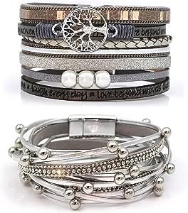 Suyi Set di Bracciali in Pelle Multistrato 2 Pezzi Bracciale Avvolgente Perline Braccialetti da Polso con Fibbia Magnetica per Donna