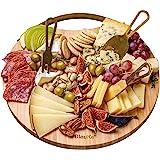 Kaasplank van Bamboe met Kaasmessen Set – Bamboo Cheese Board Set – Ronde Kaasplaat van Hout met 3 Messen – Geweldig Cadeau v